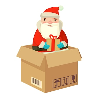 Logistic santa claus with a gift flat vector illustration