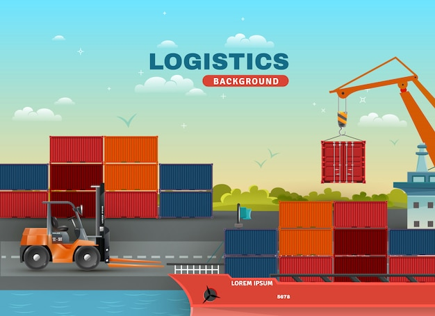 Logistic sea freight background
