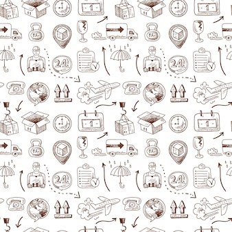 Logistic seamless pattern, doodle style