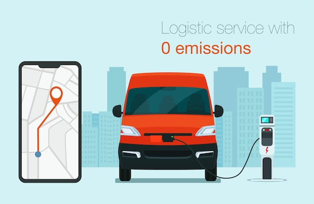 電気貨物バンによる物流サービス。彼のスマートフォンを使用して注文を追跡します。