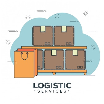 Logistic services icon set