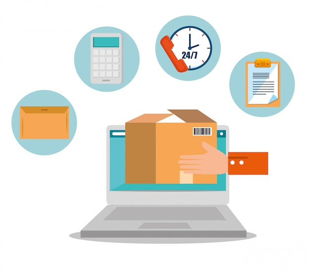 Logistic services with laptop