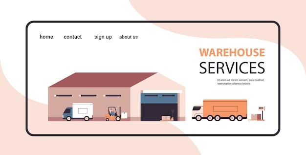 Логистический транспорт возле склада загрузка картонных коробок продукт доставка товаров концепция службы экспресс-доставки копирование пространства