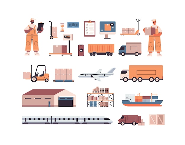 Logistic transportation cargo symbols set of different transport and mix race deliverymen in uniform express delivery service concept  isolated