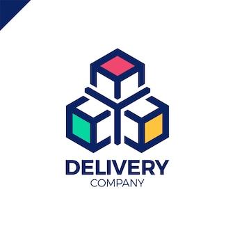 Logistic or transportation flat three box logotype.