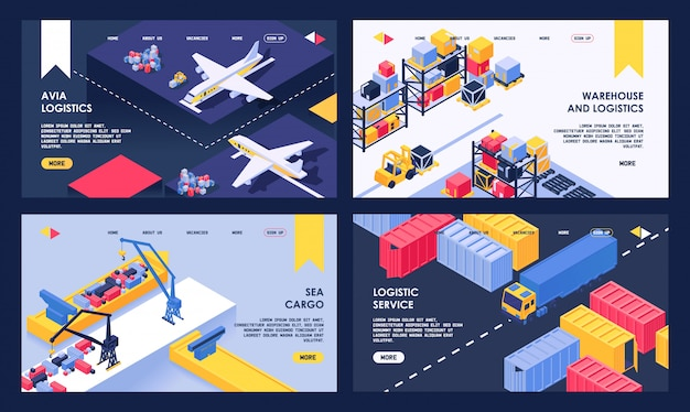 Logistic and warehouse service isometric illustration sea cargo, delivery and air transportation landing web page set