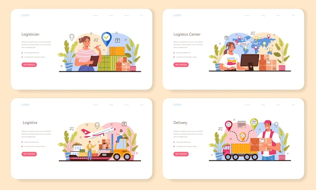 Logistic web banner or landing page set. idea of transportation and distribution. loader in uniform delivering a cargo. transportation and delivery service concept. isolated flat illustration