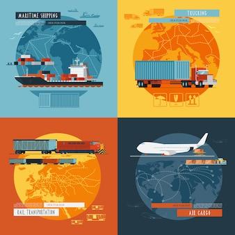 Logistic4フラットアイコンバナー