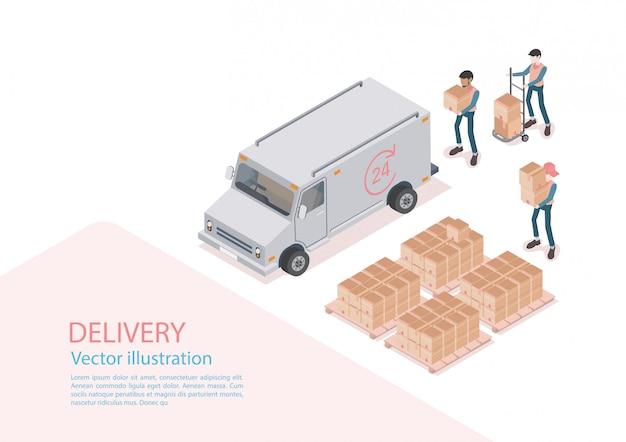 物流と配達のインフォグラフィック。等尺性、トラック、ドローン、配達人。ベクトルイラスト