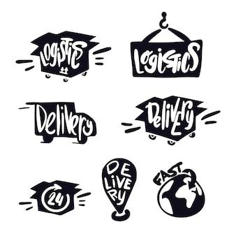 Логистика и символы доставки. доставка надписи. логотип логистики. служба доставки каракулей. транспортная иллюстрация. логотип доставки и надписи.