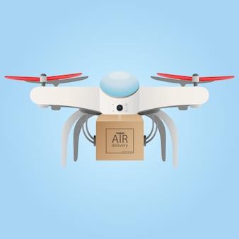 Служба логистики и доставки квадрокоптеров. значок drone с коробкой.