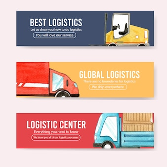 Logistics banner design with car, box watercolor illustration.