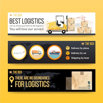 Logistics banner design with watercolor painting of box, car, plane, boat illustrations.