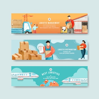 Logistics banner templates