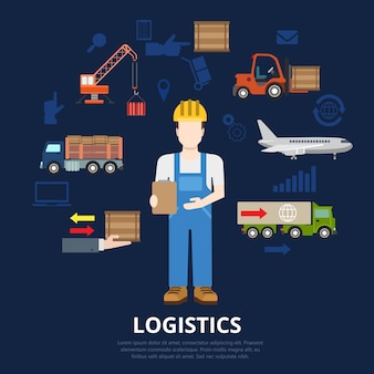 Concetto piatto di affari di logistica. processo di movimento dell'uomo di consegna del lavoratore di magazzino e della cassa di merci.