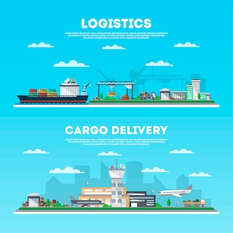 Logistics and cargo delivery banner set