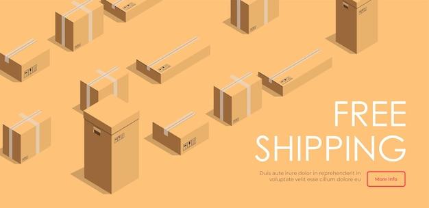 적시에 운송을 돕는 물류 회사. 충성도 높은 고객에게 무료 배송을 제공하는 상점. 쇼핑객을 위한 전자 상거래 및 보증. 웹사이트 또는 웹 페이지 템플릿, 방문 페이지 평면 벡터