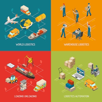Logistics concept isometric elements and characters set