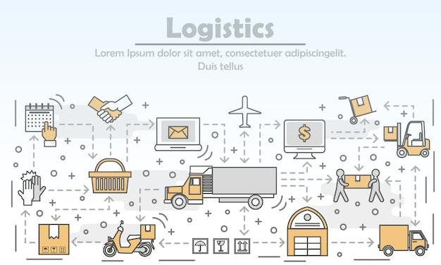Logistics concept vector flat line art illustration