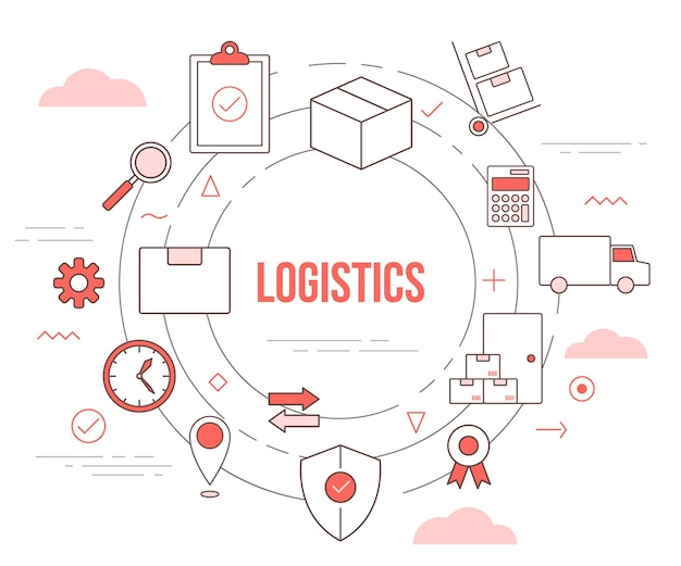 Logistics delivery concept with illustration set template  with modern orange color style