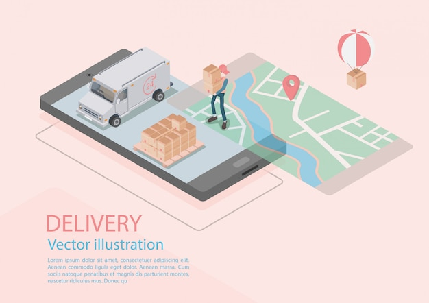 Logistics and delivery infographics. isometric, truck, drone and delivery man. vector illustration