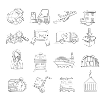 Logistics and delivery service icons set