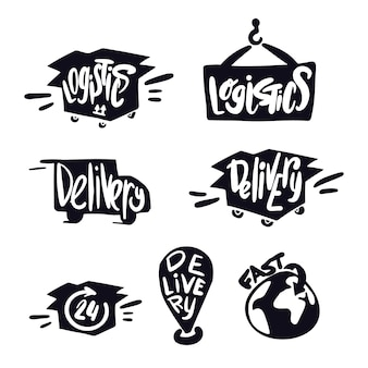 Logistics and delivery symbols. lettering delivery. logistics logo. doodle delivery service. transportation illustration. shipping logo and lettering.