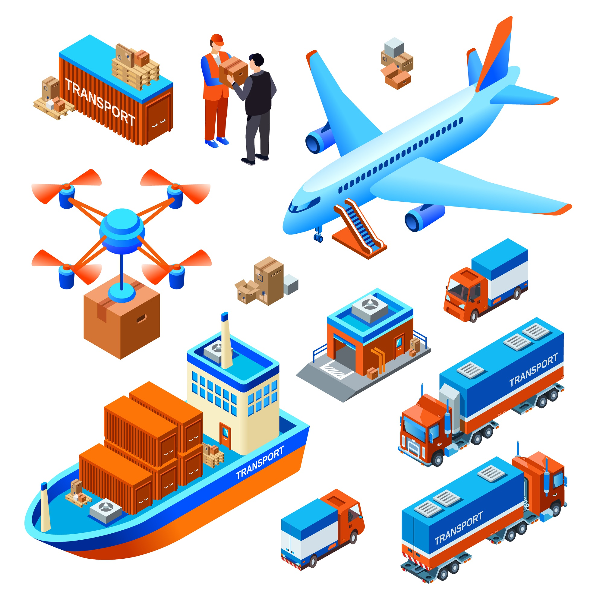 Logistics delivery transport cargo ship or freight airplane and drone delivering