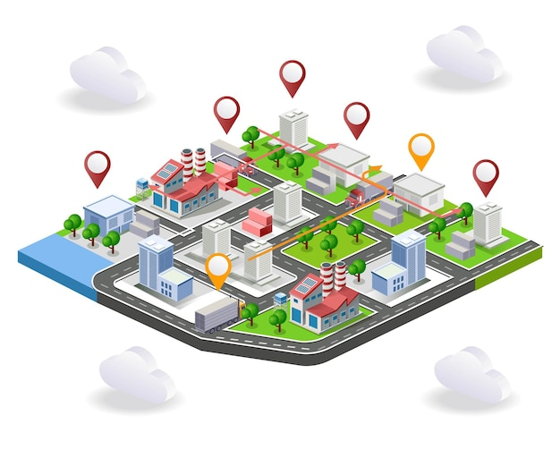 Logistics delivery truck in isometric map illustration