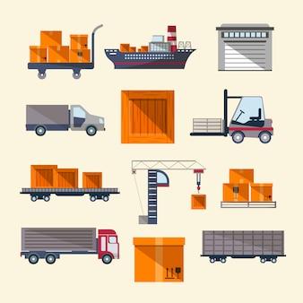 Logistics elements set in flat design