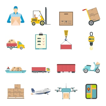 Logistics flat elements set