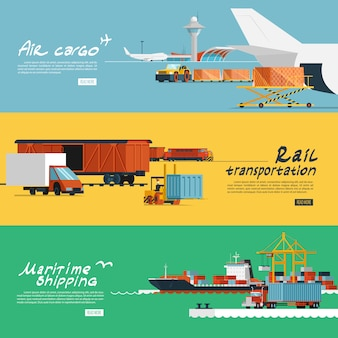 Logistics flat horizontal banners set