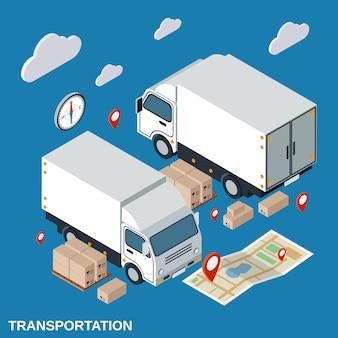 Logistics flat isometric vector concept illustration