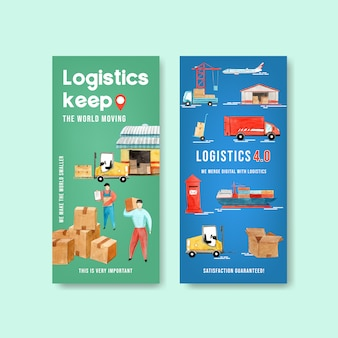 Logistics flyer design with warehouse, car, plane, boat watercolor illustration.
