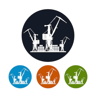 Logistics icon, cargo cranes with  containers on the docks  ,the four types of colorful round icons,vector illustration