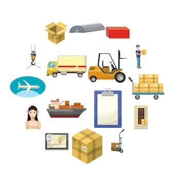 Logistics icon set, cartoon style