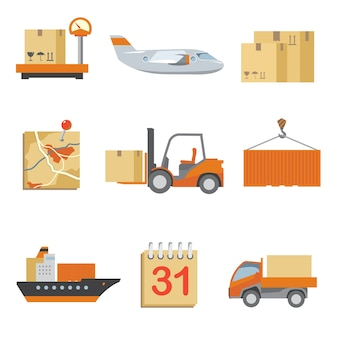 ヴィンテージフラットスタイルで設定されたロジスティクスアイコン。トラックと配送、貨物と輸送、箱の配達。
