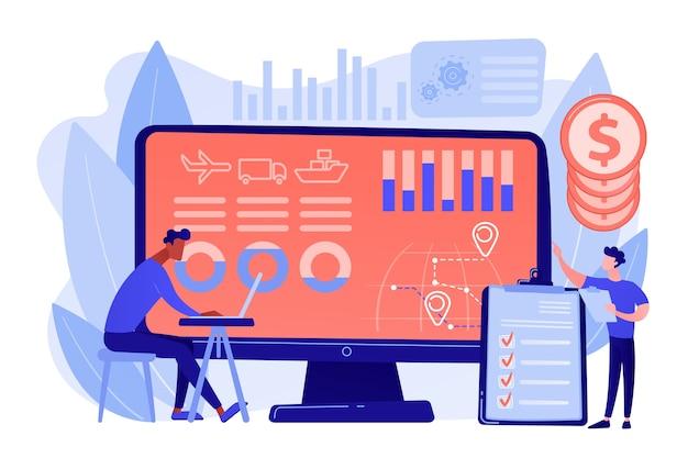 물류 산업 및화물 수익 분석. 공급망 분석, 운송 공급자 데이터, 운송 비용 최적화 개념. 분홍빛이 도는 산호 bluevector 고립 된 그림