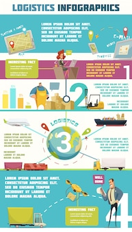 Logistics infographic set with cargo and warehouse symbols cartoon vector illustration