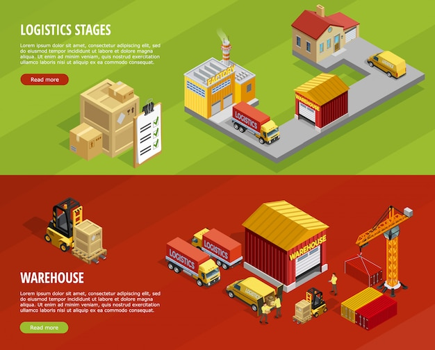 Logistics isometric horizontal banners