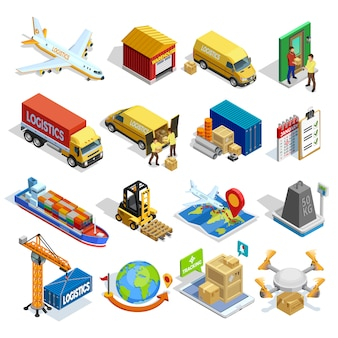 Logistics isometric icons set