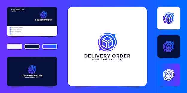 Вдохновение для дизайна логотипа логистики, логотипа заказа на доставку и вдохновения визитной карточки