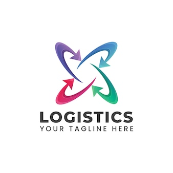 Logistics logo with arrow shape circle rounded abstract illustration