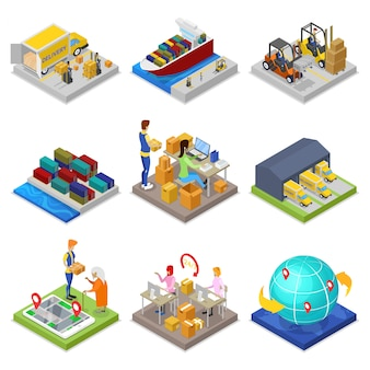 Logistics service isometric 3d set