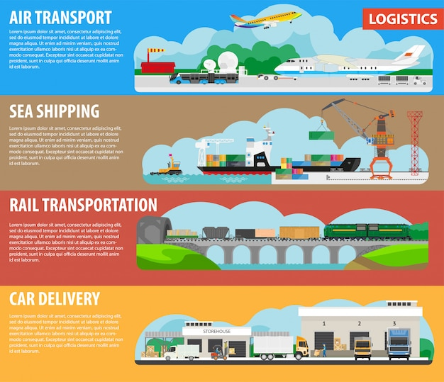 Logistics and shipping types infographics