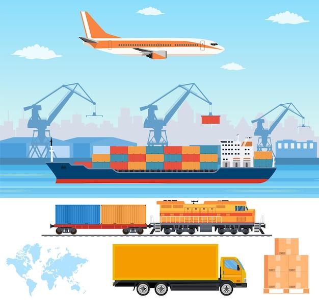 Logistics and transportation infographic elements.