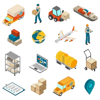 Logistics transportation symbols isometric icons collection