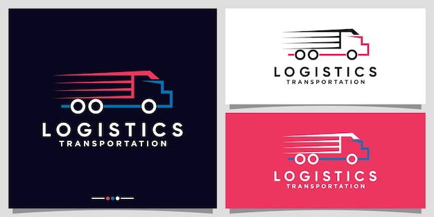 Logistics truck logo design for business company with line art style premium vector