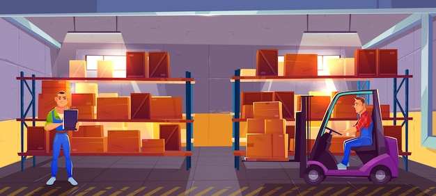 Logistics, warehouse interior with worker driving forklift and inspector checking list of delivered cargo