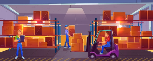 Logistics, warehouse interior with worker driving forklift, loader and inspector checking list of delivered cargo